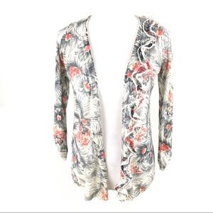 Anthro Sparrow ruffle floral open cardigan sweater